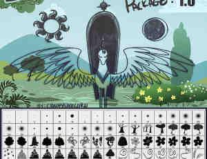 手绘涂鸦翅膀、花朵、树叶、羽毛等可爱元素PS笔刷下载