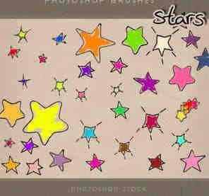 可爱卡哇伊的手绘风格星星PS笔刷