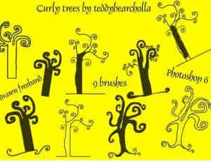 手绘卡通涂鸦树木PS笔刷