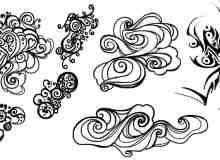 潮流的浪潮花纹图案笔刷