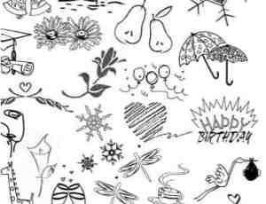 卡通涂鸦铃铛、梨子、雨伞、蛋糕、咖啡、长颈鹿、酒杯等笔刷