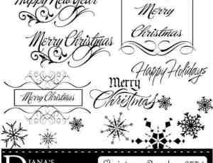 艺术英文签名效果字体和雪花PS笔刷