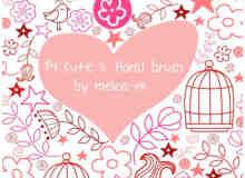可爱的手绘心形、花藤、鸟笼照片装饰PS笔刷