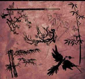 中国传统梅、竹PS笔刷