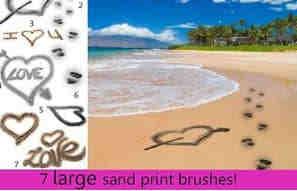 沙滩海滩爱心、爱情印迹PS笔刷