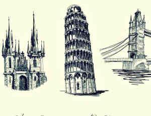 欧式古建筑斜塔、城堡PS笔刷