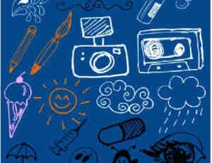 手绘风格儿童蜡笔、粉笔涂鸦PS笔刷