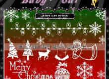 矢量圣诞节装饰元素PS笔刷