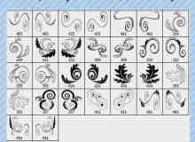 手绘对称花纹装饰PS笔刷