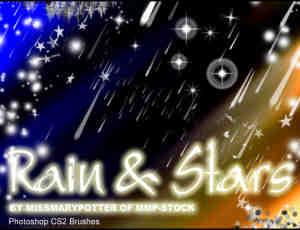 矢量式小星星、流星雨PS笔刷