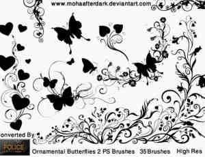 装饰性蝴蝶植物艺术花纹PS笔刷素材