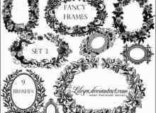 手绘矢量花环、桂冠、花圈PS笔刷下载