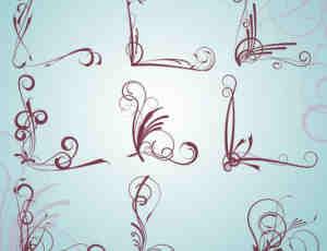 艺术花纹边角、边框PS笔刷素材