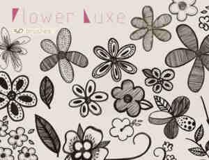 手绘细致的涂鸦花纹、印花PS笔刷下载