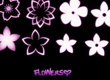 梦幻光影矢量花瓣、花朵PS笔刷
