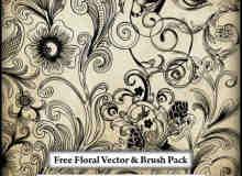 手绘艺术鲜花花纹PS笔刷素材