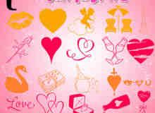 22个情人节元素装饰PS笔刷