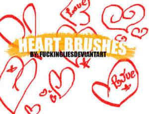 涂鸦式爱心、心形装饰PS笔刷