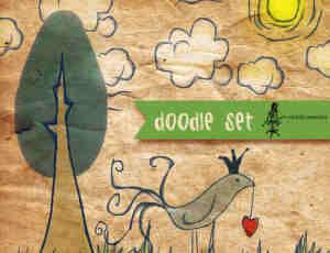 手绘可爱的卡通云朵、小树、青草PS笔刷
