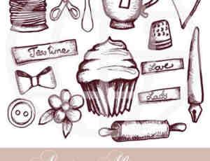 手绘涂鸦杯子、蛋糕、蝴蝶结等PS笔刷