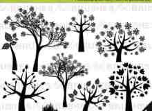 漂亮的矢量树木花纹PS笔刷