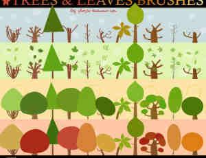矢量绘画的植物树木PS笔刷下载