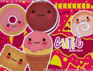 可爱的卡通饼干、甜甜圈图片素材-【美图秀秀素材】