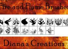火焰纹饰、纹饰、花纹图案PS笔刷素材下载