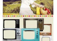 老旧电视剧相框背景图片素材-【美图秀秀素材】