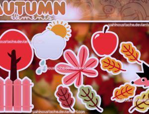 一组简洁的卡通树叶、刺猬、苹果等图片素材【美图秀秀素材】