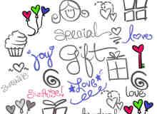 可爱卡通女孩子涂鸦图案photoshop笔刷