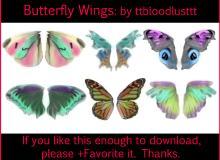 6对漂亮的蝴蝶翅膀photoshop笔刷素材
