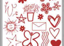 卡通手绘涂鸦花纹、花朵photoshop笔刷素材