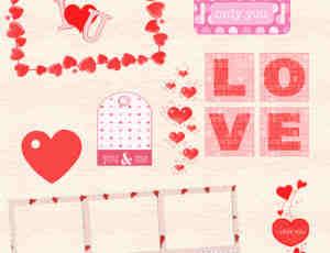 一套小清新爱情系列照片装饰素材-美图秀秀素材包