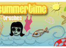 可爱卡通冰欺凌、海星、泳衣等海边元素PS笔刷