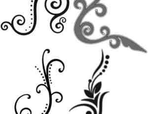 4种线条艺术花纹photoshop笔刷素材