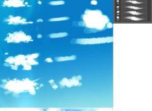 CG模拟自由绘画式天空白云、云彩笔触photoshop笔刷下载