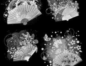 时尚中国风扇子装饰潮流元素photoshop笔刷素材