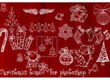 新年圣诞节手绘卡通涂鸦图案photoshop笔刷素材