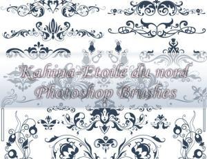 漂亮的贵族式花纹图案、花边纹饰印花PS笔刷素材