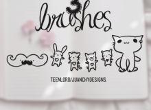 可爱手绘猫咪与胡子photoshop笔刷素材