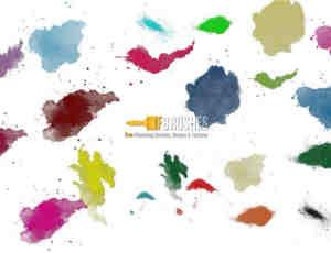 多彩油漆水彩斑迹PS笔刷素材