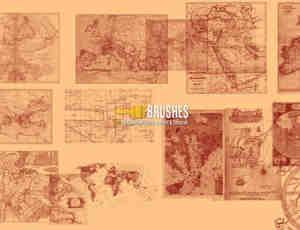 老旧的世界各国地球素材PS笔刷下载
