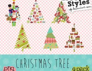 9种卡通圣诞树美图秀秀素材免费下载