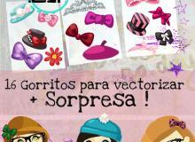 24个卡通帽子、嘴巴、蝴蝶夹等装扮美图秀秀素材下载