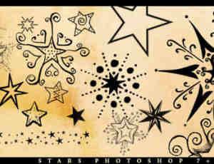 涂鸦式星星图案花纹photoshop笔刷素材