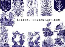 漂亮的版刻式植物花纹图案photoshop笔刷素材