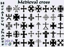 漂亮的十字符号花纹photoshop自定义形状素材下载