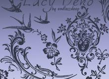 经典欧式艺术花纹图案photoshop笔刷下载 #.3