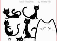 可爱的卡通猫咪照片装饰PS笔刷素材